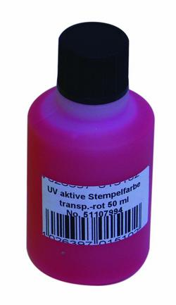 Noname UV-active stamp ink, transp. red, 5