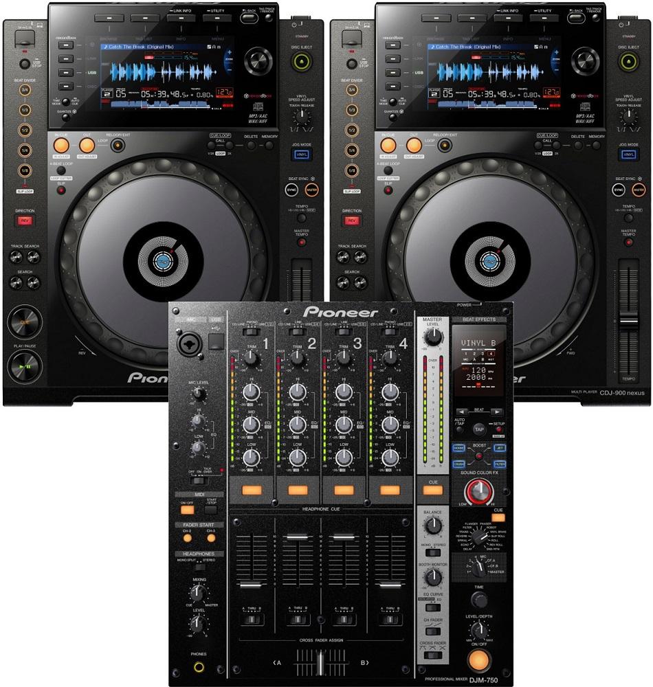 Pioneer 2 x CDJ-900 Nexus + DJM-750