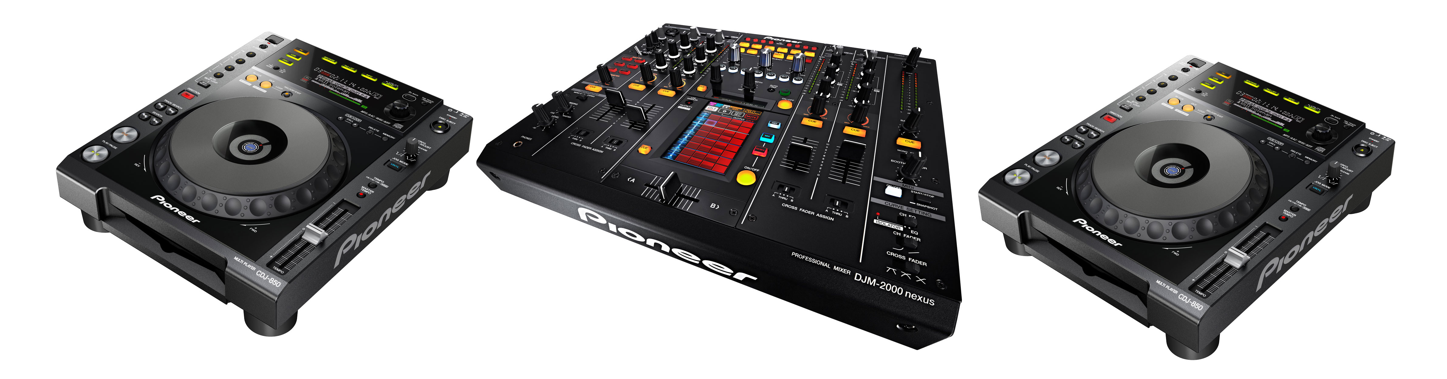 Pioneer DJ 2 x CDJ-850 + DJM-2000 Nexus + Flightcase