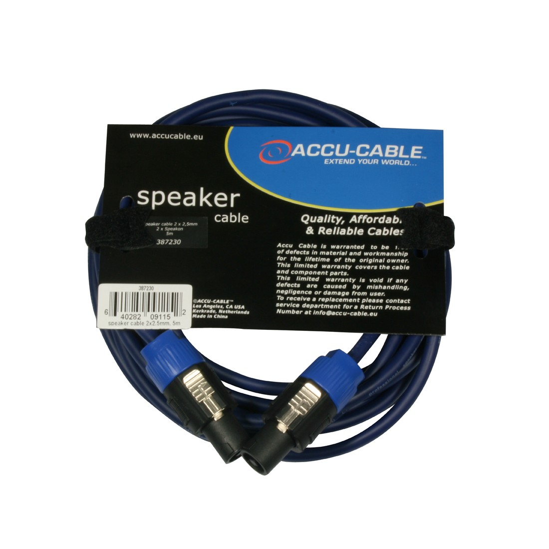 Accu-Cable Speaker cable 2pin 2x2,5mm 5m