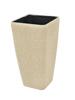 Deco cachepot STONA-41, cubic, beige