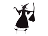 Slhouette Metal Witch with Broom, 140cm