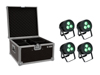 Set 4x LED IP PAR 3x8W QCL Spot + Case