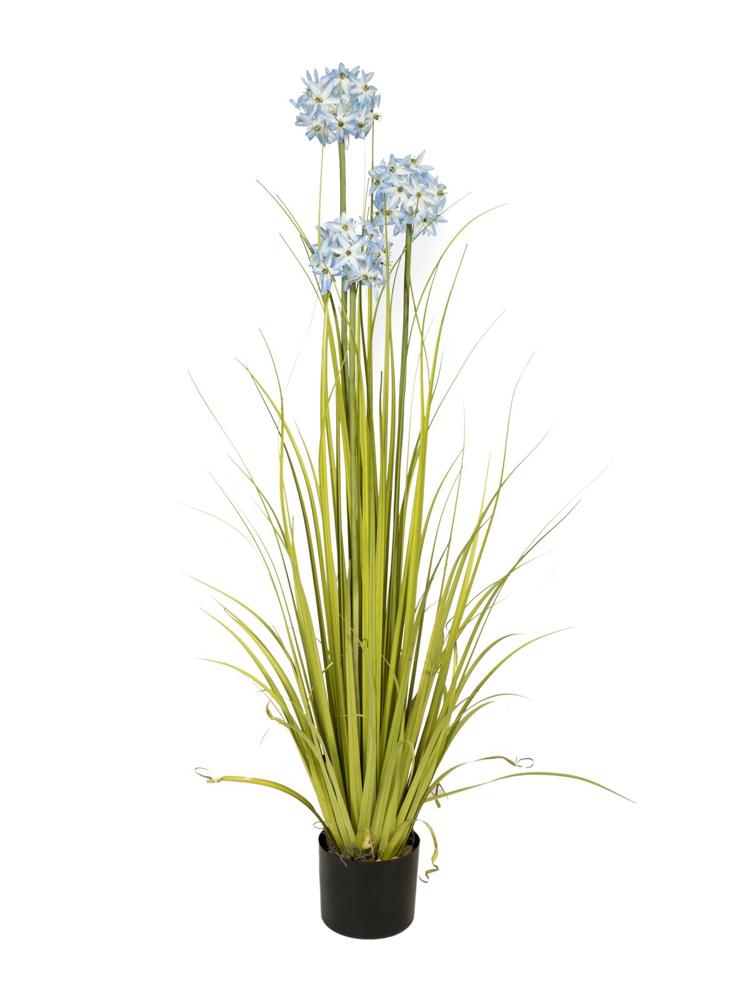 Europalms Allium grass, artificial plant, blue, 120 cm