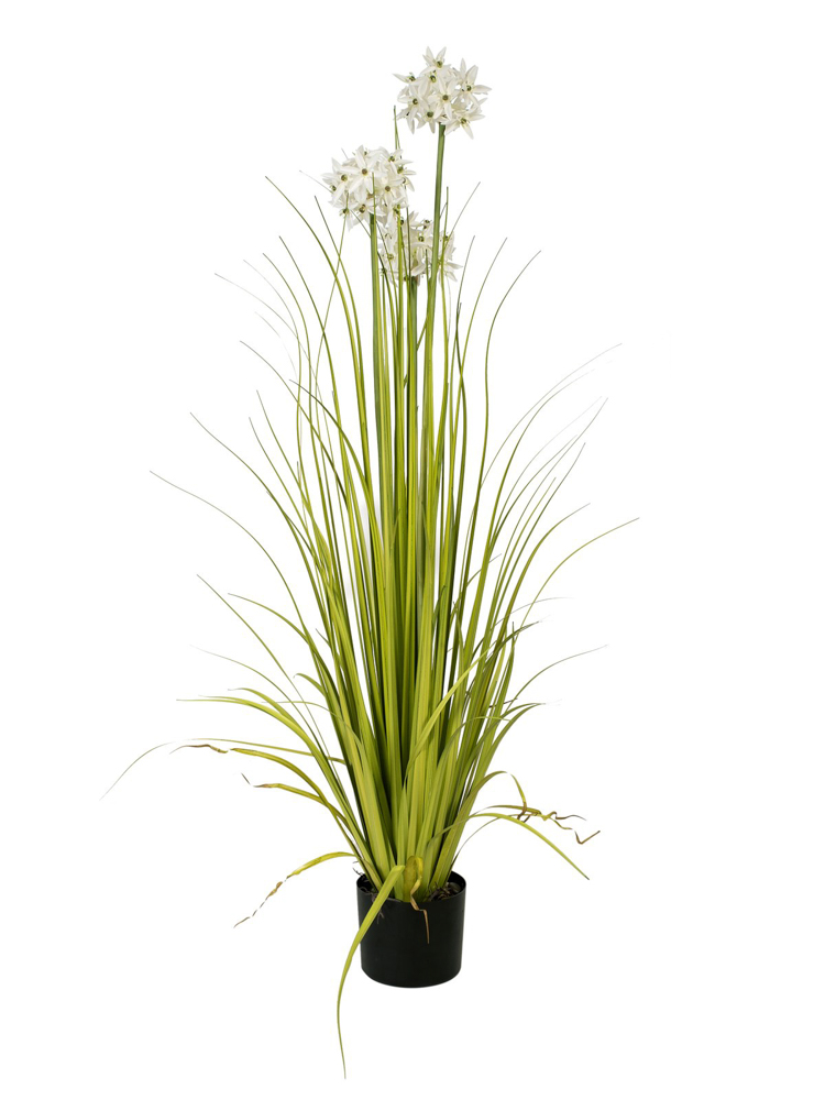 Europalms Allium grass, artificial plant, white, 120 cm
