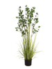 Evergreen shrub with grass, artificial plant, 152cm