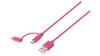Sweex 2-i-1 Sync/Charge USB A Ma > Micro B Ma 1m Pink