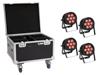 Eurolite Set 4x LED IP PAR 7x8W QCL Spot + Case with wheels