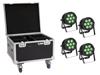 Eurolite Set 4x LED IP PAR 7x9W SCL Spot + Case with wheels