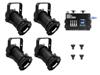 Eurolite Set 4x PAR-16 Spot bk dim2warm + EDX-4 DMX RDM LED Dimmer pack
