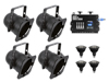 Eurolite Set 4x PAR-38 Spot bk dim2warm + EDX-4 DMX RDM LED Dimmer pack