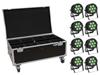 Eurolite Set 8x LED IP PAR 7x8W QCL Spot + Case with wheels