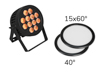 Eurolite Set LED IP PAR 12x8W QCL Spot + 2x Diffuser cover (15x60° and 40°)