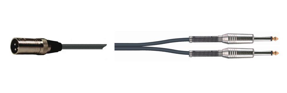 Quik Lok 1xXLR Ma > 2x6.3mm Ma MO 1.5m
