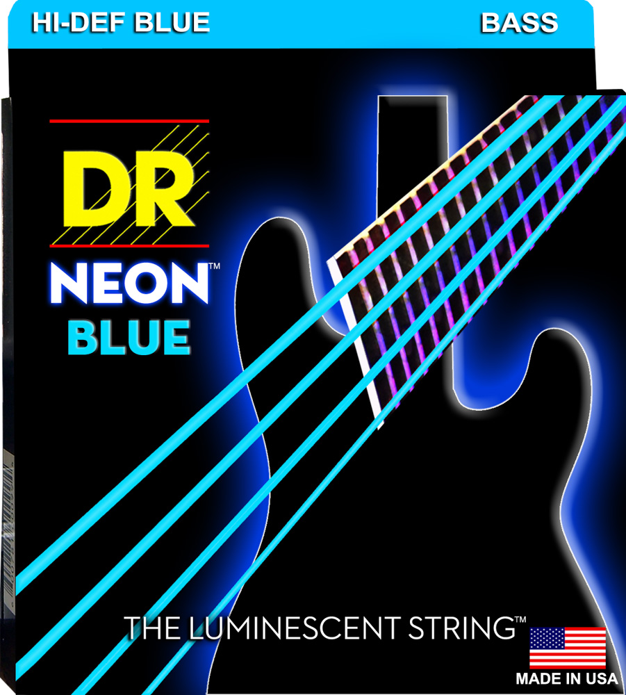 DR Strings NEON Blue Bass Medium 6's 30-125