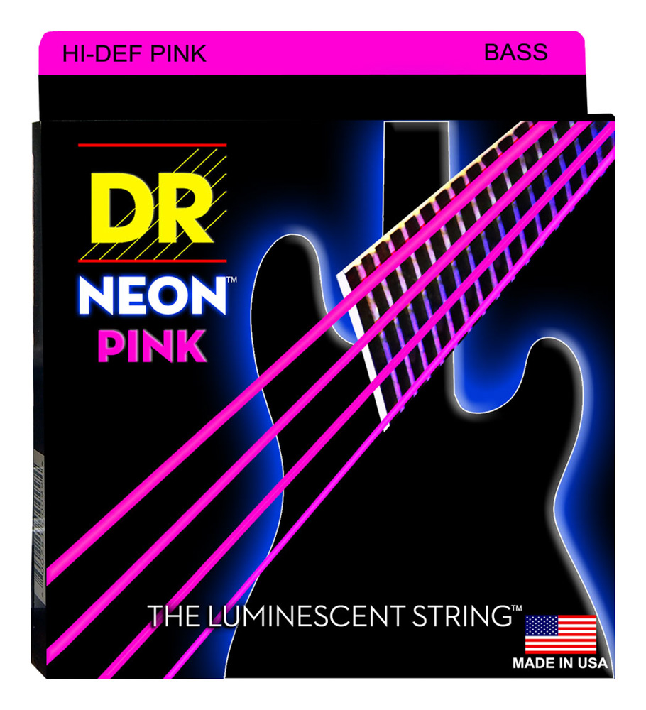 DR Strings Neon Pink Bass Heavy 5's 45-125