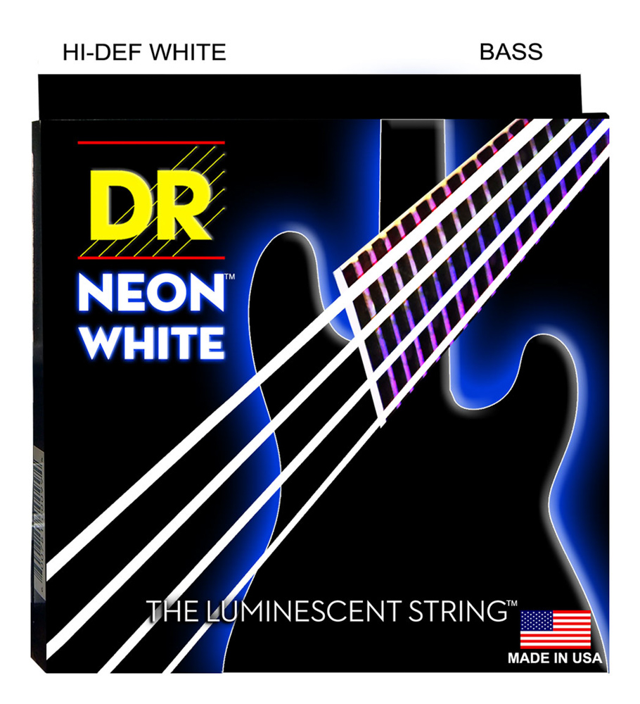 DR Strings Neon White Bass Medium 6 String 30-125