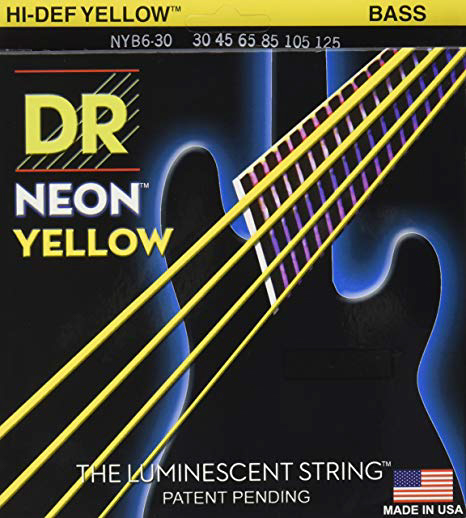 DR Strings Neon Yellow Bass Medium 6's 30-125